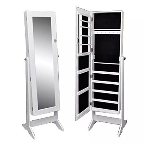 vidaXL White Mirrored Jewelry Cabinet Armoire Mirror Storage Organizer Ring w/Stand by vidaXL