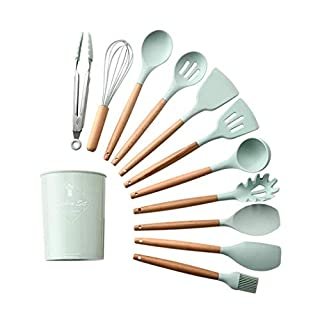 Eadear 11PCS Silicone Cooking Kitchen Utensils Set with Holder,Durable Practical Heat Resistant Silicone Kitchenware Kitchen Tool Cookware Sets