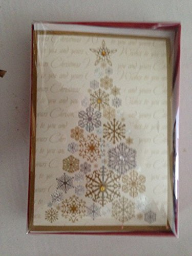 8 Gold & silver on ivory jeweled Christmas Tree Designer Cards & Envelopes (2 boxes per box = 16 (Jeweled Shopper)