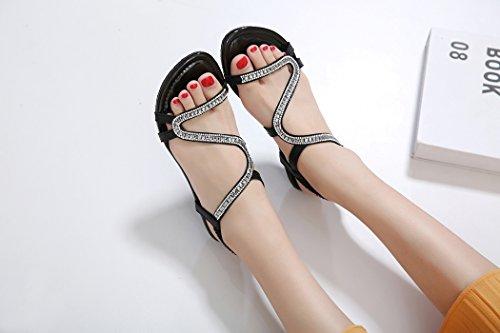 pour Dames Ruiren Bohème Chaussures de D'été Sandales Plates des Strass Noir Femmes de de rqwvrIp7