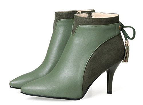 Boots Franges Aisun Low Femme Sexy Pointu Bout Bottines Vert YwHFIO