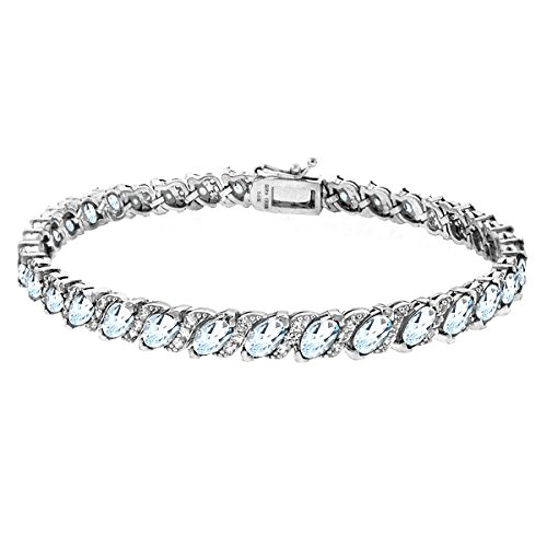 (GemStar USA Sterling Silver Blue Topaz Marquise-Cut Tennis Bracelet with White Topaz Accents)
