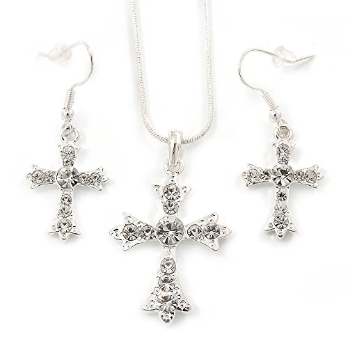 Clear Austrian Crystal Cross Pendant with Silver Tone Snake Chain and Drop Earrings Set - 42cm L/ 5cm Ext - Gift Boxed ()