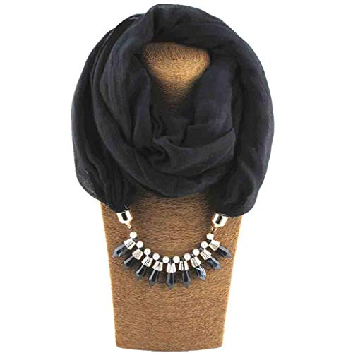 - YunZyun 9 Pack Women's Tassel Scarf Necklace Jewelry Pendant Scarf Necklace Womens Winter Scarf Soft Winter Lightweight Best Travel Solid Scarfs for Women Warm Scarfs (Black)
