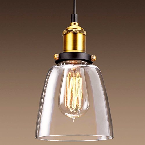 Vintage Pendant Light, CMYK Industrial Chandelier Lamp Shade Clear Glass Modern ceiling Lighting Fixture Chrome Brass E26 base, for Kitchen Dining Room Loft and Restaurant