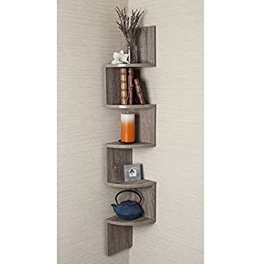 Danya B Large Rustic Weathered Oak Laminate Corner Wall Mount Shelf