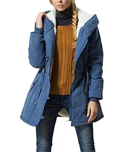 Encapuchado Grueso Parka Suave Cómodo Huixin Abrigos Grandes Día Invierno Blau Terciopelo Largo Colores Modernas Manga Sólidos Mujer Abrigo De Espesar Tallas Elegantes Largos Caliente Transición 7Rq7zOwx