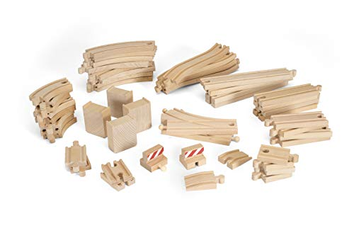 (BRIO 33772 Special Track Pack | 50 Pieces of Wooden Tracks and Train Accessories for Kids Age 3 and)