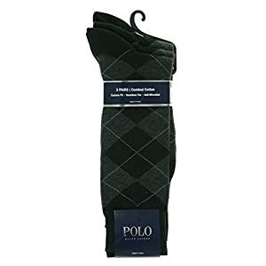 Polo Ralph Lauren Classic Argyle Cotton Socks - 3 Pack (8091PK) one size/Black