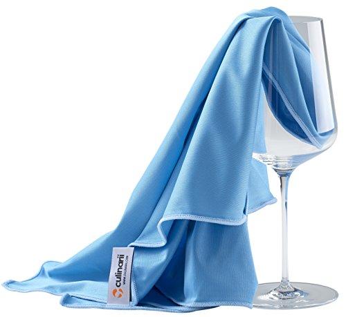 culinarii Mikrofaser Poliertuch 1 oder 2 Stück Packung - Glaspoliertuch/Gläserpoliertuch auch für hochglänzende und Hochglanzoberflächen - Made in Austria (2 Stück Packung 70x80cm, blau-blau)