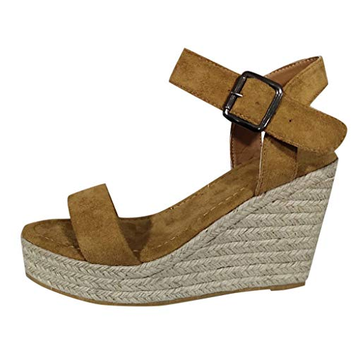 VESNIBA LLC Wedge Hemp Rope Woven Buckle Women's Sandals Women's Platform Wedge Sandals Khaki