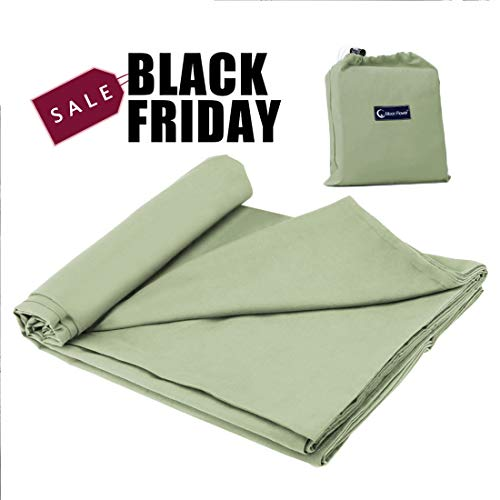 Cotton Sleeping Bag Liner,Travel and Camping Sheet Sleep Sack Lightweight Warm Roomy for Camping, Travel, Youth Hostels, Picnic 82.7 X 45,Green