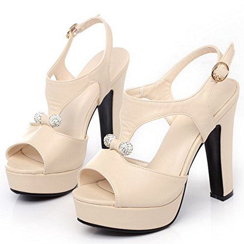 TAOFFEN Mujer Peep Toe Sandalias De Fiesta Moda Plataforma Tacon Alto Slingback Zapatos De Hebilla Beige