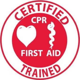 NMC HH65 2'' x 2'' PS Vinyl Label w/Legend: ''Certified CPR First Aid Trained'', 12 Packs of 25 pcs