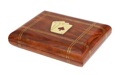 Thanksgiving Gifts Wooden Double Playing Card Deck Holder Box Exquisite Hand Crafted Decorative (6 X 4.5 X 1.5) Inch With Brass Ace Design Inlay