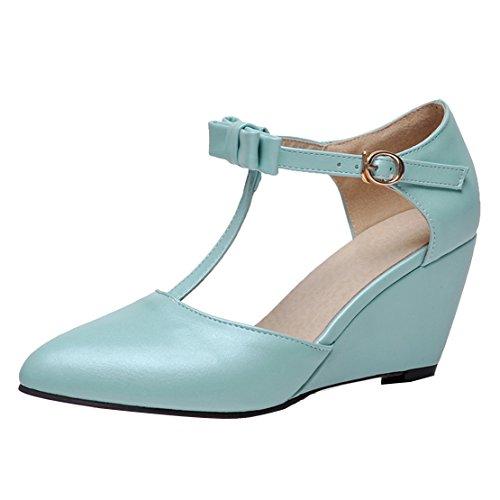 AIYOUMEI Damen Spitz T-spangen Keilabsatz Pumps mit Schleife und 7cm Absatz Elegant Bequem Schuhe Blau