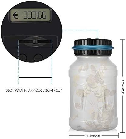 Euro Argent Coin Bo/îte De Sauvegarde Jar /Écran LCD Grande Capacit/é Comptage Box Tirelire Pot Conteneur Enfants Cadeau Sunsbell Tirelire D/écoratives 1.5L