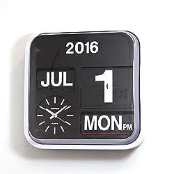 Fartech Retro Modern 17 Calendar Auto Flip Desk Wall Clock (White)
