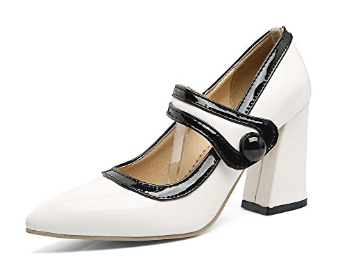 Odomolor Women's High-Heels Pu Soild Buckle Closed-Toe Pumps-Shoes White nNcEixW