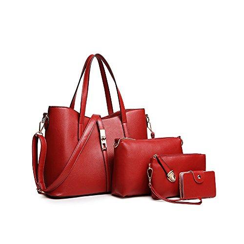 SIFINI Women Fashion PU Leather Handbag+Shoulder Bag+Purse+Card Holder 4pcs Set Tote (red)