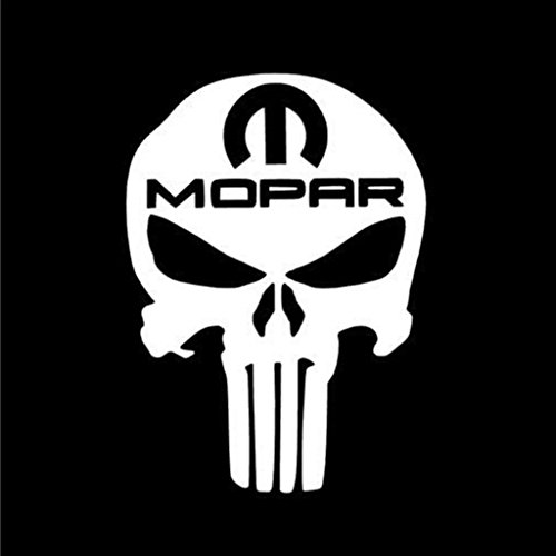 Punisher Skull Mopar Racing Decal Vinyl Sticker|Cars Trucks Vans Walls Laptop| WHITE |5.5 x 4 in|CCI592