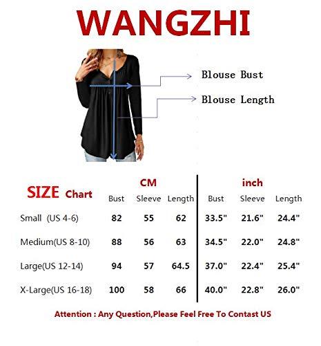 WANGZHI Women's Casual Shirts Long Sleeve Button up Henley T-Shirt Tunic Tops Blouses (L, 01-Dark Green) by WANGZHI (Image #4)