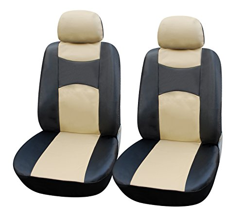 115905 Bk/tan-Leather Like 2 Front Car Seat Covers Compatible to Mazda 3 (4-Door) 3 (5-Door) 6 CX-3 CX-5 2017-2007 - Bk Leather