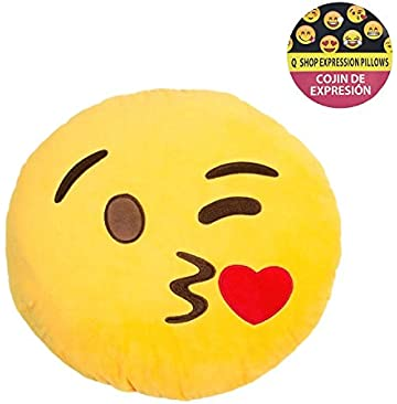 EvZ 32cm Emoji Smiley Emoticon Yellow Round Cushion Stuffed ...