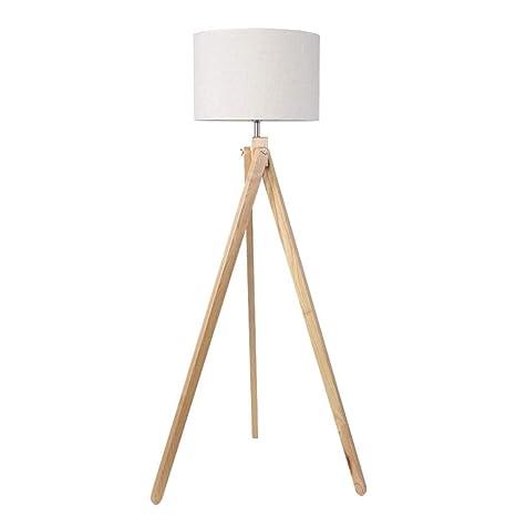 Cwill Lámpara de pie japonesa Pata de madera Pantalla de tela ...