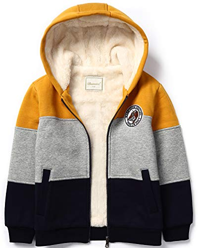 (Bumeex Boys Sherpa Fleece Lined Jacket Warm Sweatshirt Hoodie(3-10years 5-6years(120), Dark Yellow)