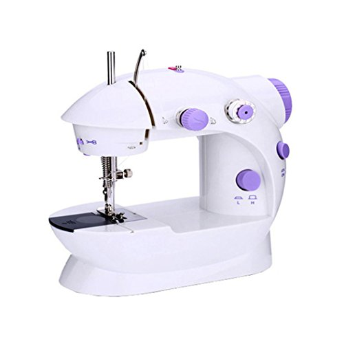 Family's Choice Portable Mini Hand Foot Overlock Motor Sewing Machine Dual Speed Pedal Double Threads Rewind Swing