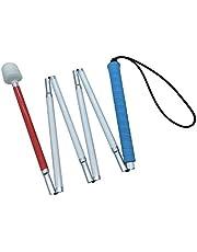 Blindelange stok, witte stok, vouwlange stok met rubberen handgreep, kunststof rolpunt, 6-delig