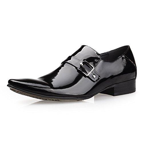 GRRONG Affaires De La Mode Hommes Chaussures En Cuir Brillant Derby Chaussures De Mariage Black