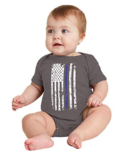 HAASE UNLIMITED Blue Line American Flag - Support Police Bodysuit (Charcoal, 12 Months) -