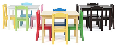 Tot Tutors TC715 Primary Collection Kids Wood Table U0026 4 Chair Set,  Natural/Primary