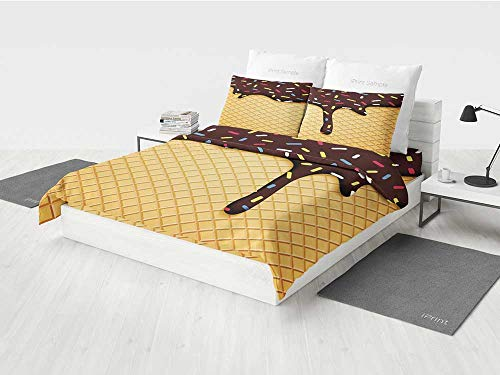 Ice Cream Decor Cute Bedding Sets Waffle Chocolate Flavor Dessert Delicious Backdrop Stylish Graphic Printing Four Pieces of Bedding Set Dark Brown Mustard for $<!--$156.99-->