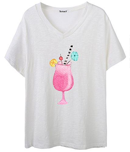 So'each Women's Drinks Graphic Print V-Neck Tee T-shirt Ladies Casual Top Blanco