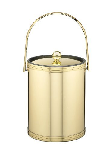 Kraftware Polished Brass Ice Bucket with Triband Accents and Track Handle - 5 Quart -
