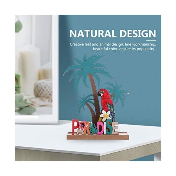 41r3A1oNkdL Amosfun Aufsteller Holz Schriftzug Papagei Kokosnussbaum Paradise Holzschrift Tropischer Stil Desktop Ornament DIY…