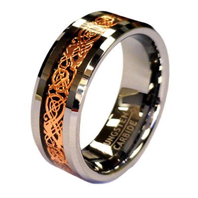 Rose Gold Celtic Dragon  Tungsten Unisex Wedding Band Ring
