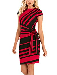 MuCoo Womens Black White Stripe Office Wear to Work Formal Bodycon Sheath Dress