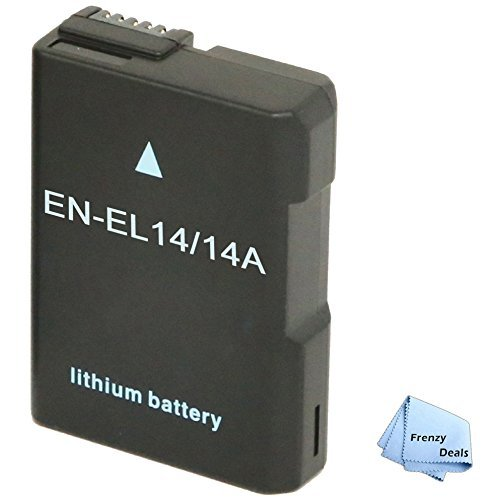 Frenzy Power Battery for Nikon EN-EL14, EN-EL14a and Nikon Coolpix P7000, P7100, P7700, P7800, D3100, D3200, D3300, D5100, D5200, D5300, Df + Frenzy Deals Microfiber Cloth