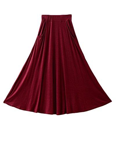 oire Femme vase Balan Haute avec Vin Poches Jupe Midi en Rouge Basique Line Jupe Plisse A Taille Confortable YrBqIwrX