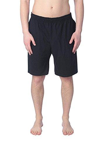 40 Cotton Polyester Short - Fruit of the Loom Mens Jersey Short Black S