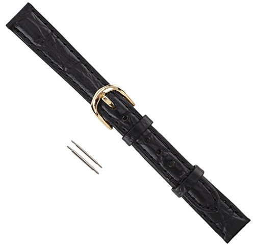 Black Croco Leather (Watch Band Croco Calf Padded Regular Length Leather Replacement Watchband Black 12mm)