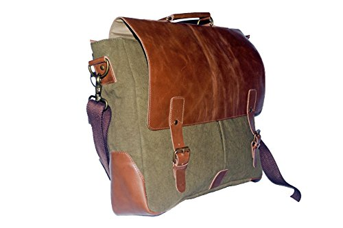 Laptop Messenger & Briefcase 17.3'' Bag, Office Bag for Men/Womens Shoulder Bag fit for Macbook/Dell/Hp/Lenovo/Acer/Asus Laptop (17.3 inch, Army Green) by Mythical Craft (Image #1)