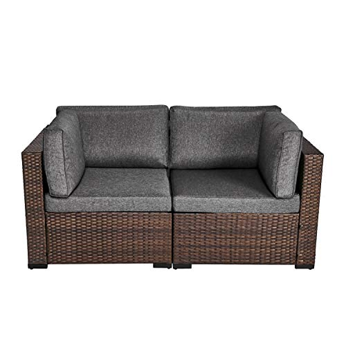 Kinsunny Wicker Patio Loveseats Sectional Corner Sofa Rattan Outdoor Furniture Thick Cotton Sofa Set