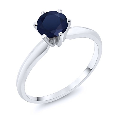 1.00 Ct Blue Sapphire 14K White Gold Engagement Solitaire Ring (Ring Size 6) by Gem Stone King