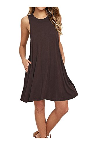 Cute Brown Dress (Women Summer Sleeveless Shift Dress Mini Swing Dresses Large Brown)