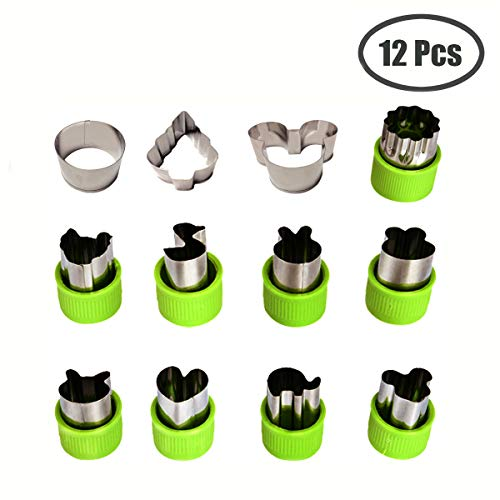 Kspowwin 12 Pieces Vegetable Cutter Shapes Set Cookie Cutters Fruit Mold Stamps Decorative Food Cutter Christmas Gift for Kids (Mickey Round Mouse)